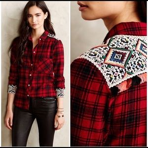 Anthropologie Embroidered Patched Plaid Shirt